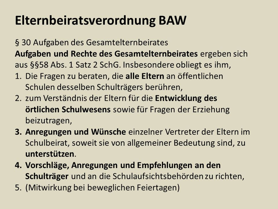 Elternbeiratsverordnung BAW