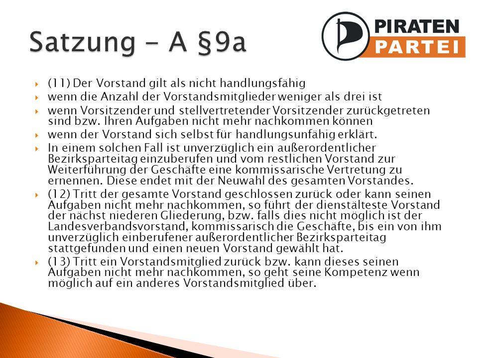 Satzung - A §9a (11) Der Vorstand gilt als nicht handlungsfähig