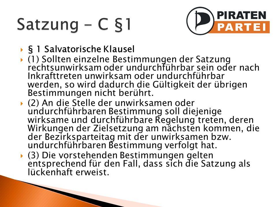 Satzung - C §1 § 1 Salvatorische Klausel