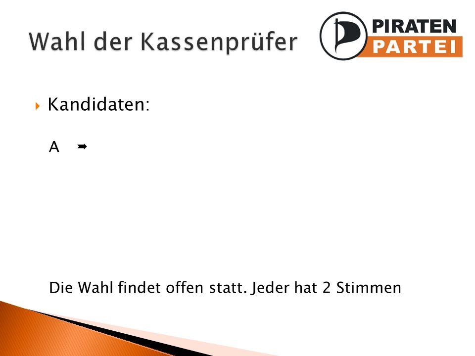 Wahl der Kassenprüfer Kandidaten: A 