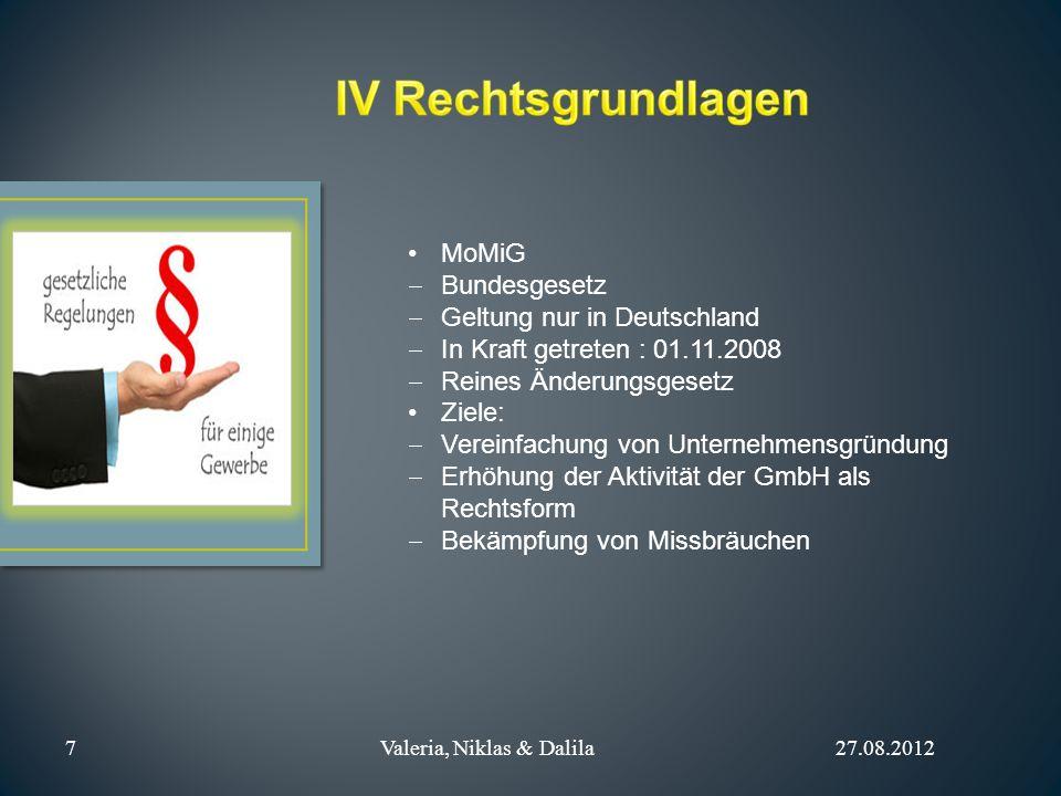 IV Rechtsgrundlagen MoMiG Bundesgesetz Geltung nur in Deutschland