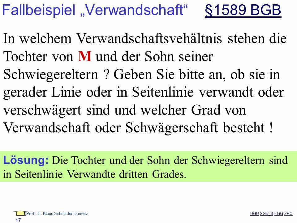 """Fallbeispiel """"Verwandschaft §1589 BGB"""