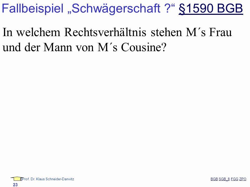 """Fallbeispiel """"Schwägerschaft §1590 BGB"""