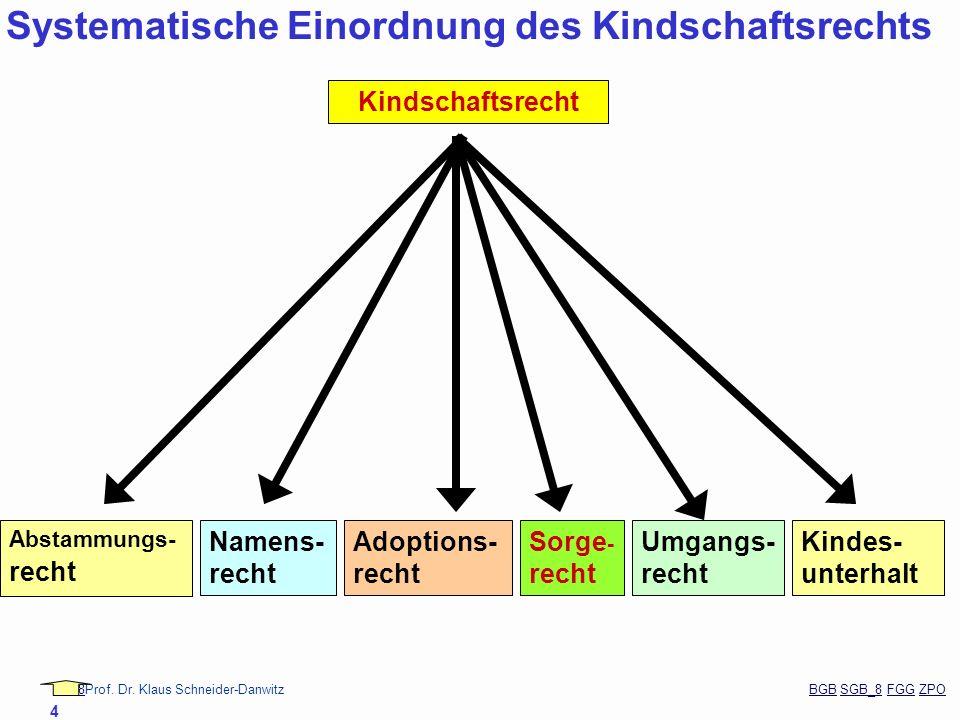 Systematische Einordnung des Kindschaftsrechts