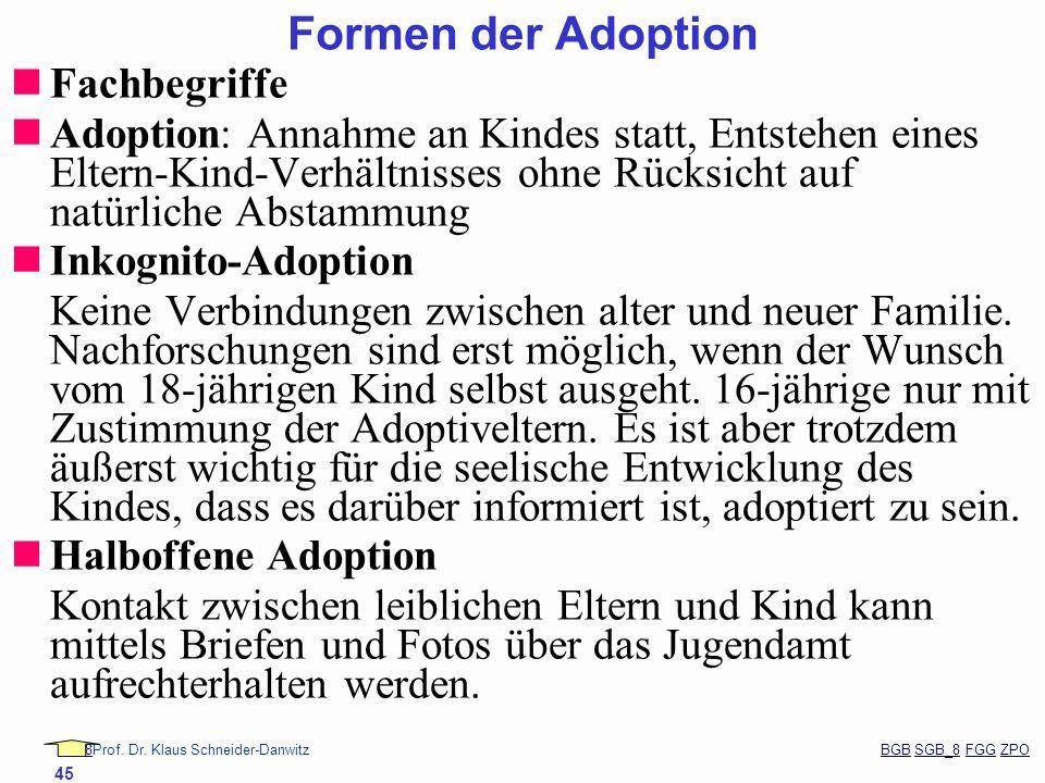Formen der Adoption Fachbegriffe