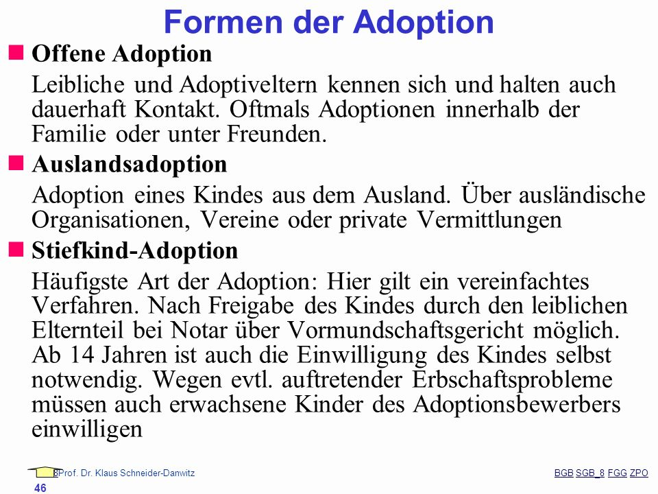 Formen der Adoption Offene Adoption