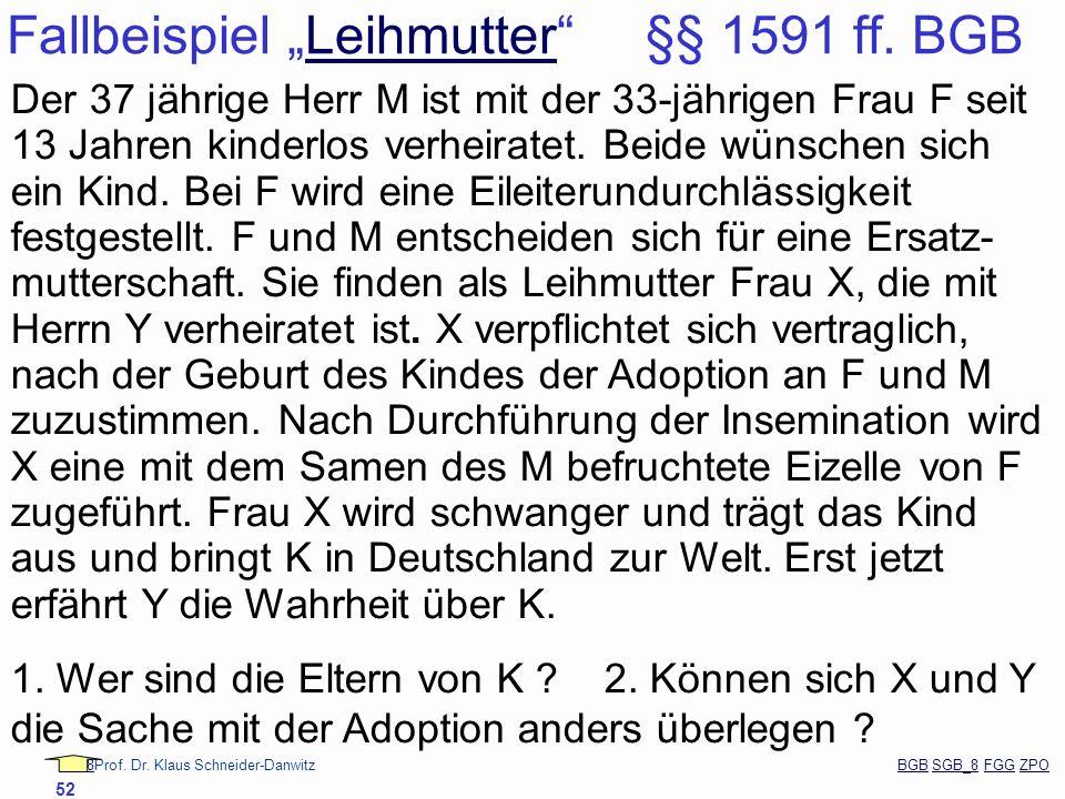 """Fallbeispiel """"Leihmutter §§ 1591 ff. BGB"""