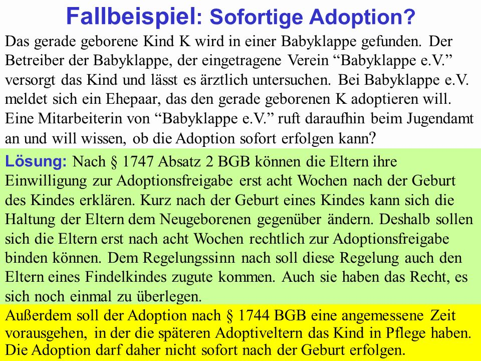 Fallbeispiel: Sofortige Adoption