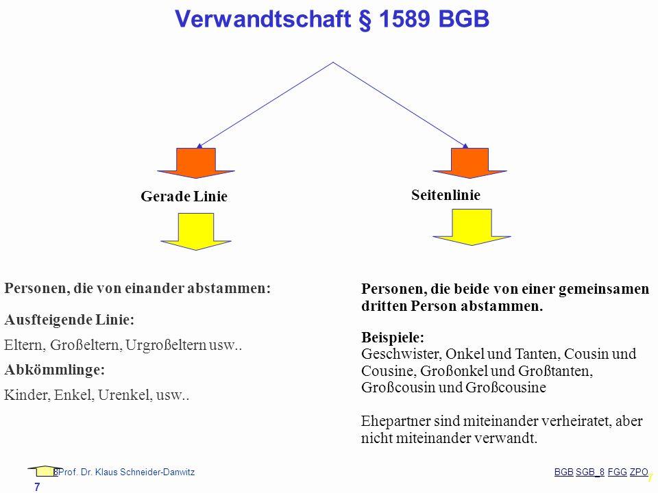 Verwandtschaft § 1589 BGB Gerade Linie Seitenlinie