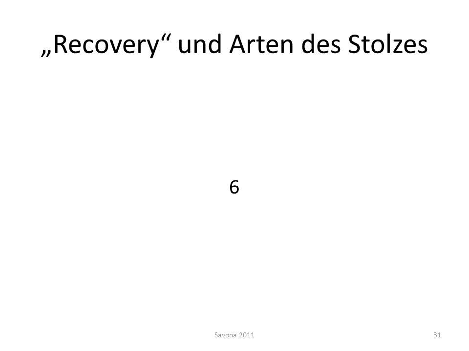 """""""Recovery und Arten des Stolzes"""