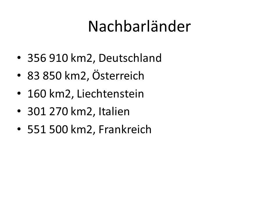 Nachbarländer 356 910 km2, Deutschland 83 850 km2, Österreich