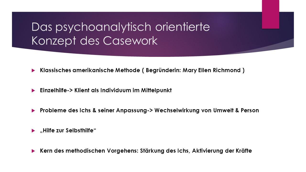 Das psychoanalytisch orientierte Konzept des Casework