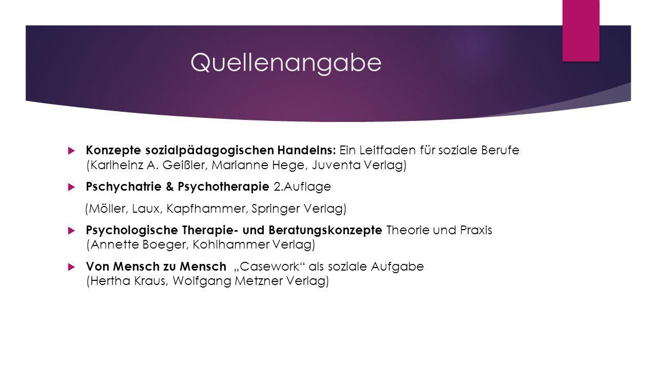 Quellenangabe Konzepte sozialpädagogischen Handelns: Ein Leitfaden für soziale Berufe (Karlheinz A. Geißler, Marianne Hege, Juventa Verlag)