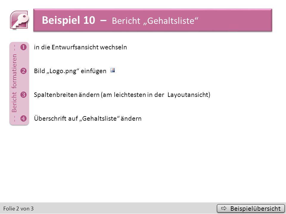 """Beispiel 10 – Bericht """"Gehaltsliste"""