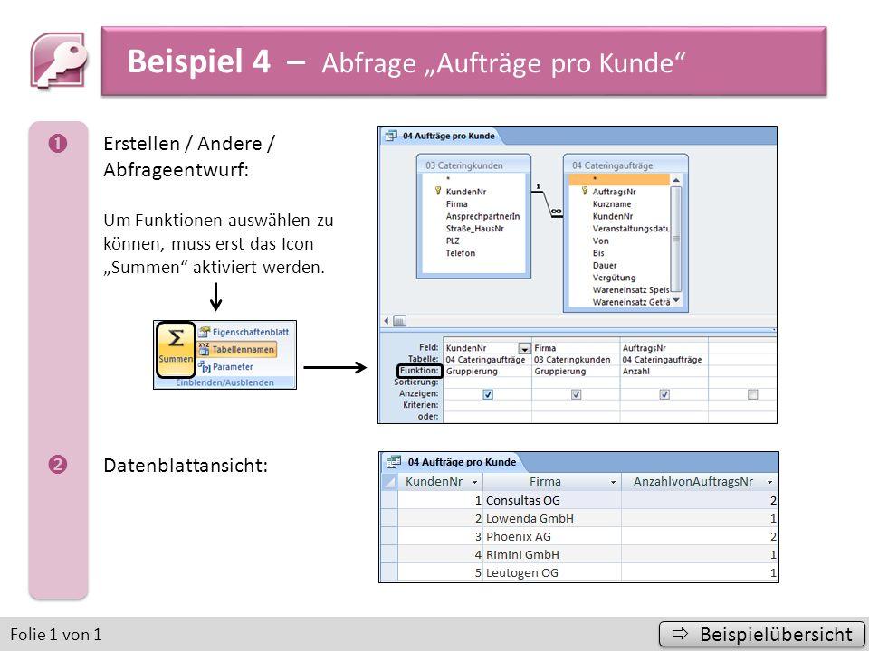 """Beispiel 4 – Abfrage """"Aufträge pro Kunde"""