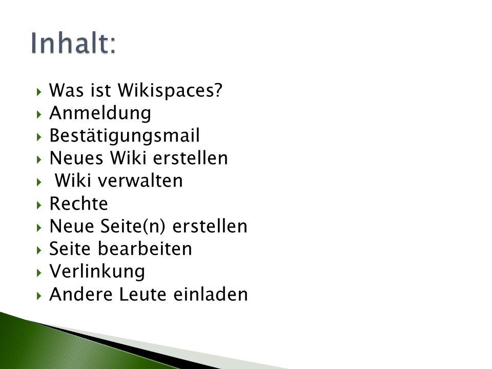 Inhalt: Was ist Wikispaces Anmeldung Bestätigungsmail