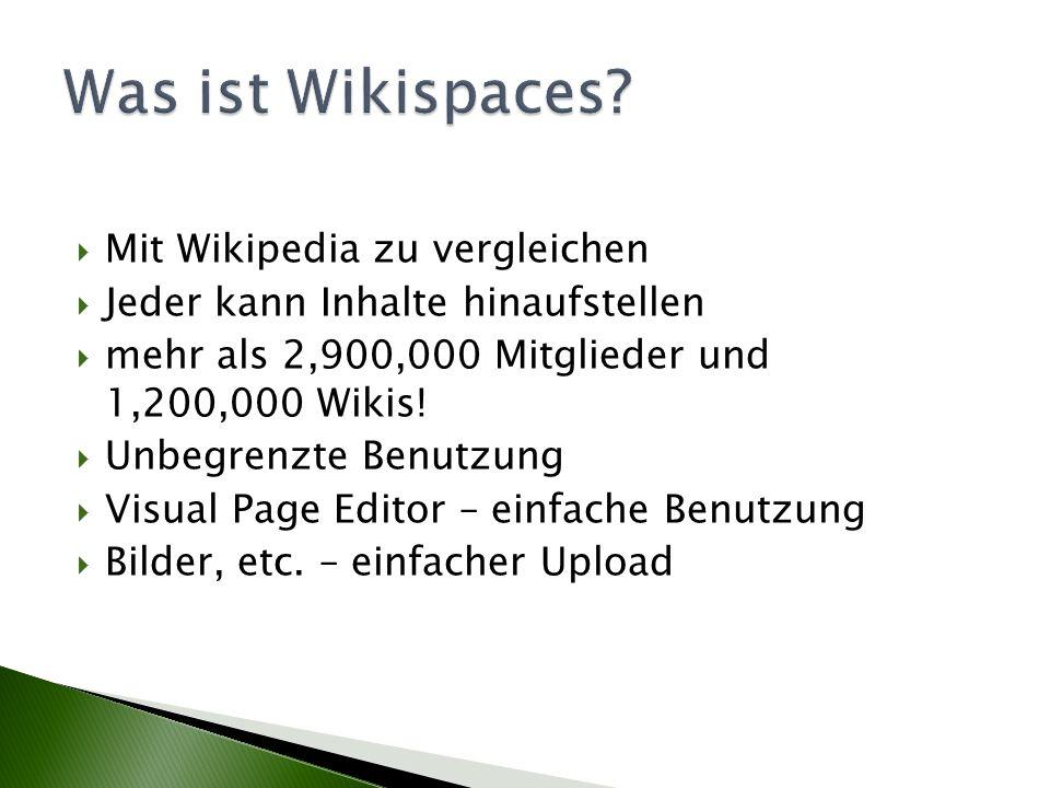 Was ist Wikispaces Mit Wikipedia zu vergleichen