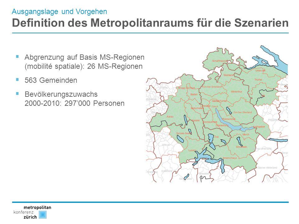 Definition des Metropolitanraums für die Szenarien