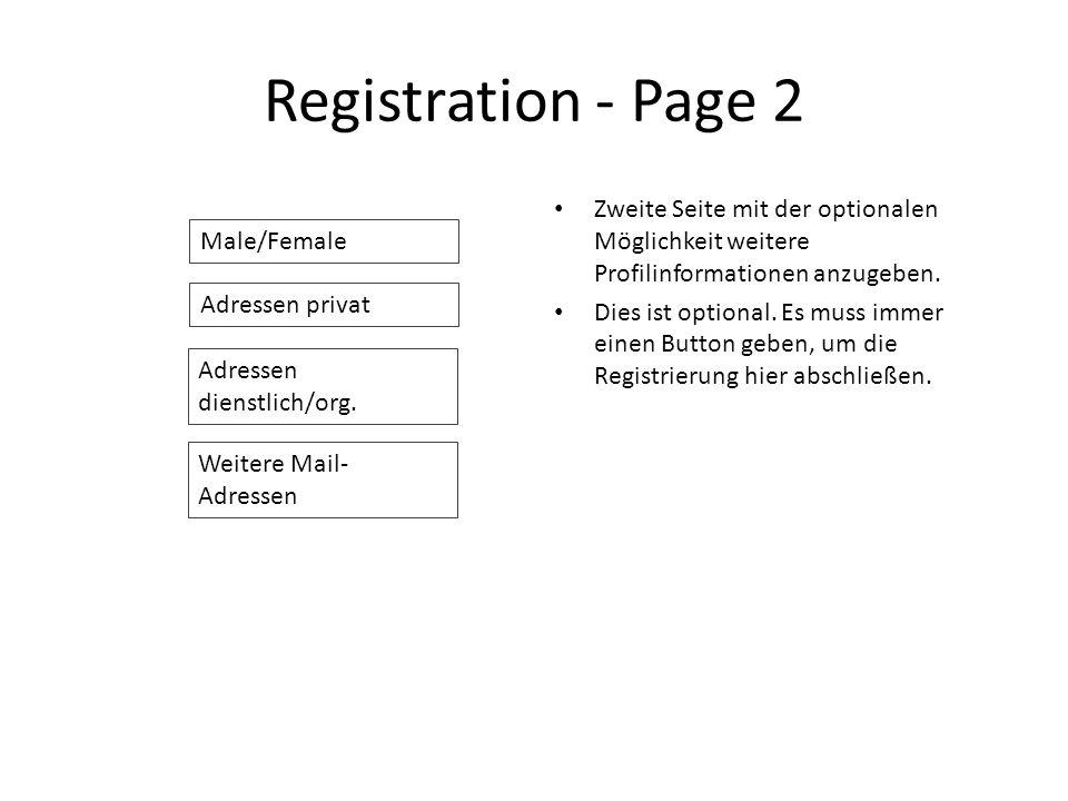 Registration - Page 2 Zweite Seite mit der optionalen Möglichkeit weitere Profilinformationen anzugeben.