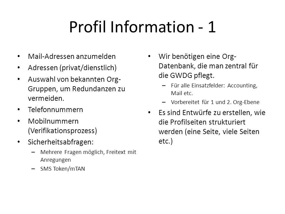 Profil Information - 1 Mail-Adressen anzumelden