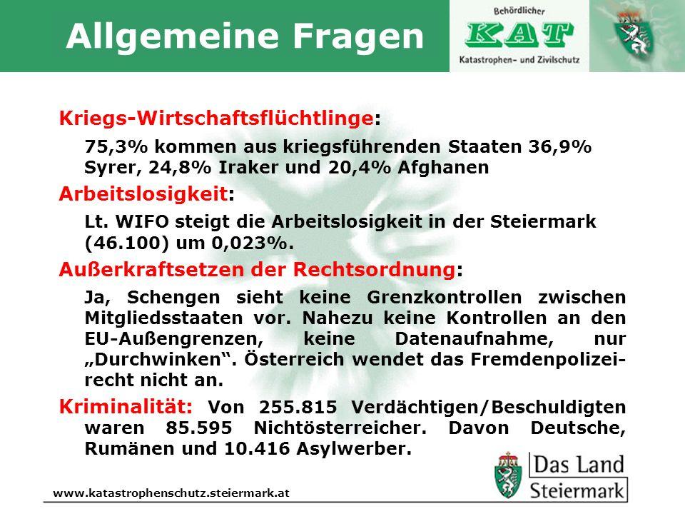 Allgemeine Fragen Kriegs-Wirtschaftsflüchtlinge:
