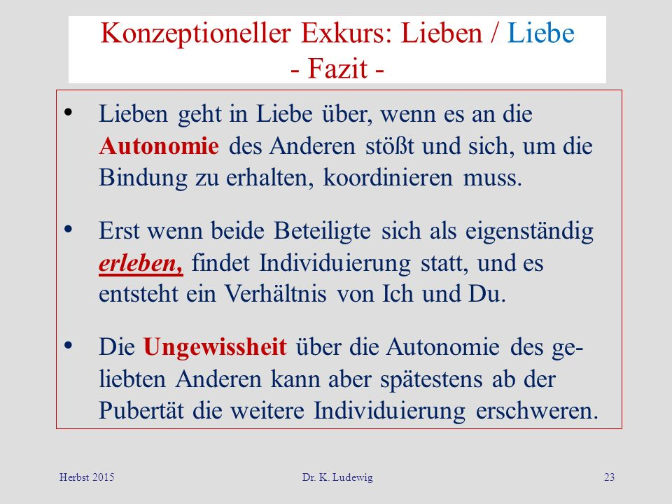 Konzeptioneller Exkurs: Lieben / Liebe - Fazit -