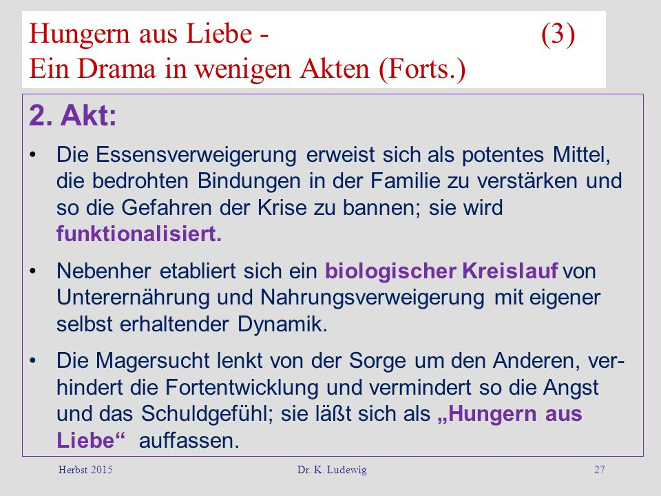 Hungern aus Liebe - (3) Ein Drama in wenigen Akten (Forts.)