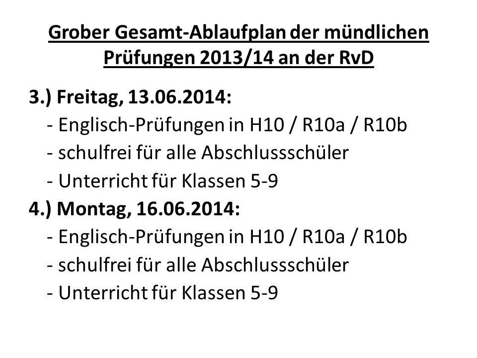 Grober Gesamt-Ablaufplan der mündlichen Prüfungen 2013/14 an der RvD