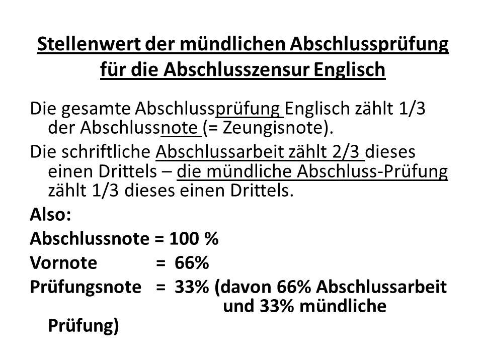 Stellenwert der mündlichen Abschlussprüfung für die Abschlusszensur Englisch