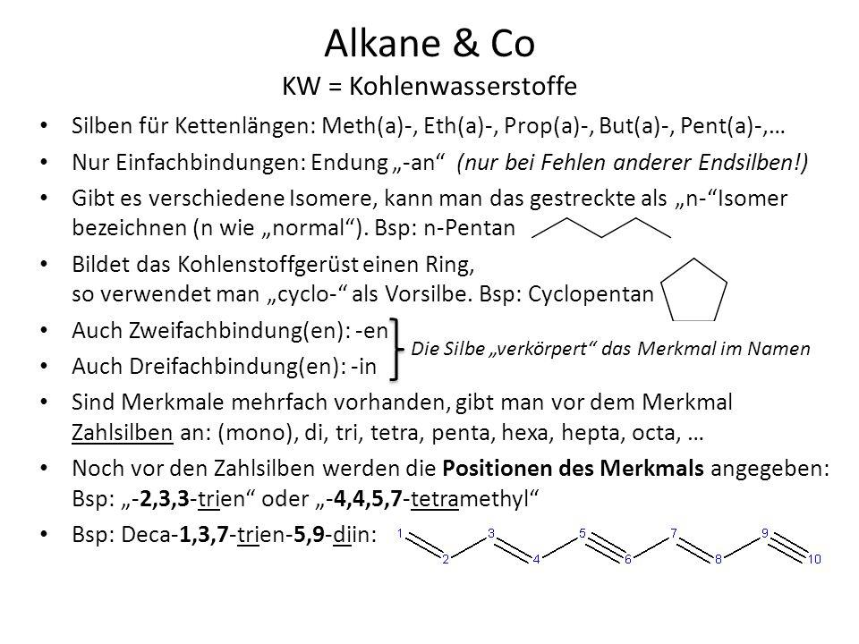 Alkane & Co KW = Kohlenwasserstoffe