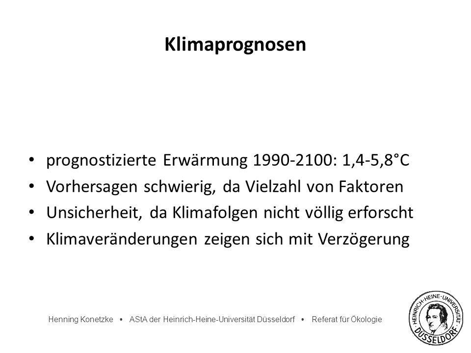 Klimaprognosen prognostizierte Erwärmung 1990-2100: 1,4-5,8°C