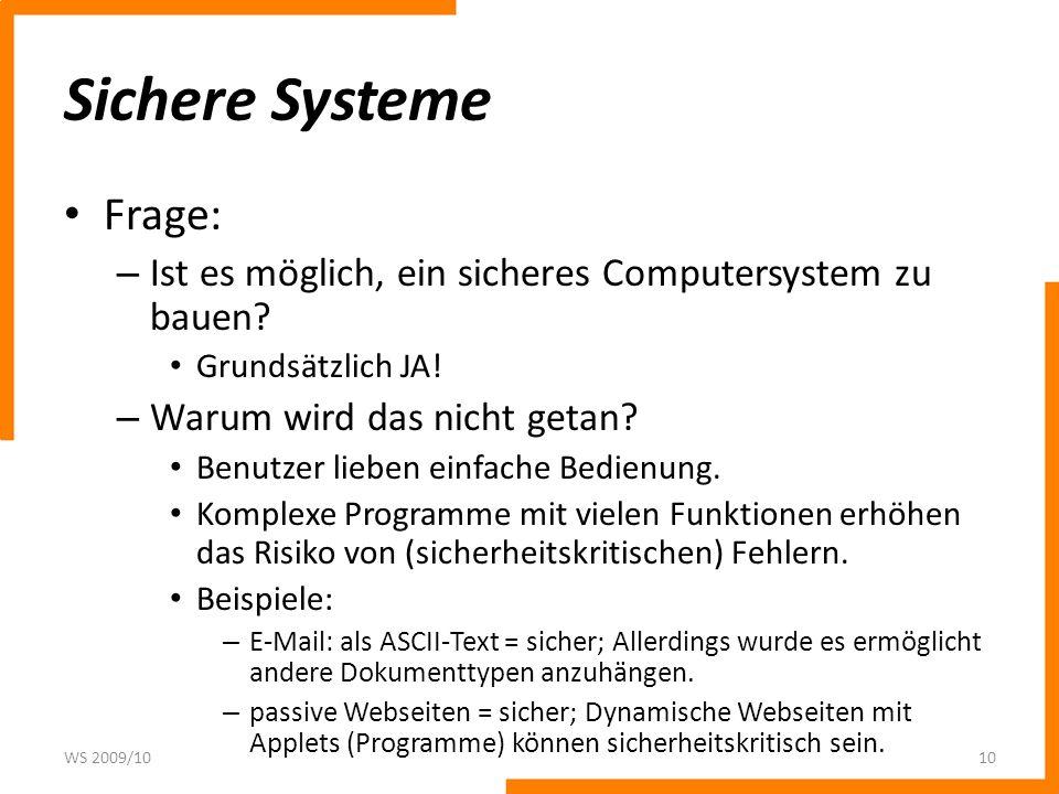 Sichere Systeme Frage: