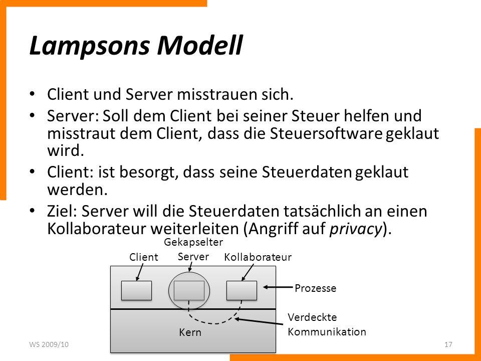 Lampsons Modell Client und Server misstrauen sich.