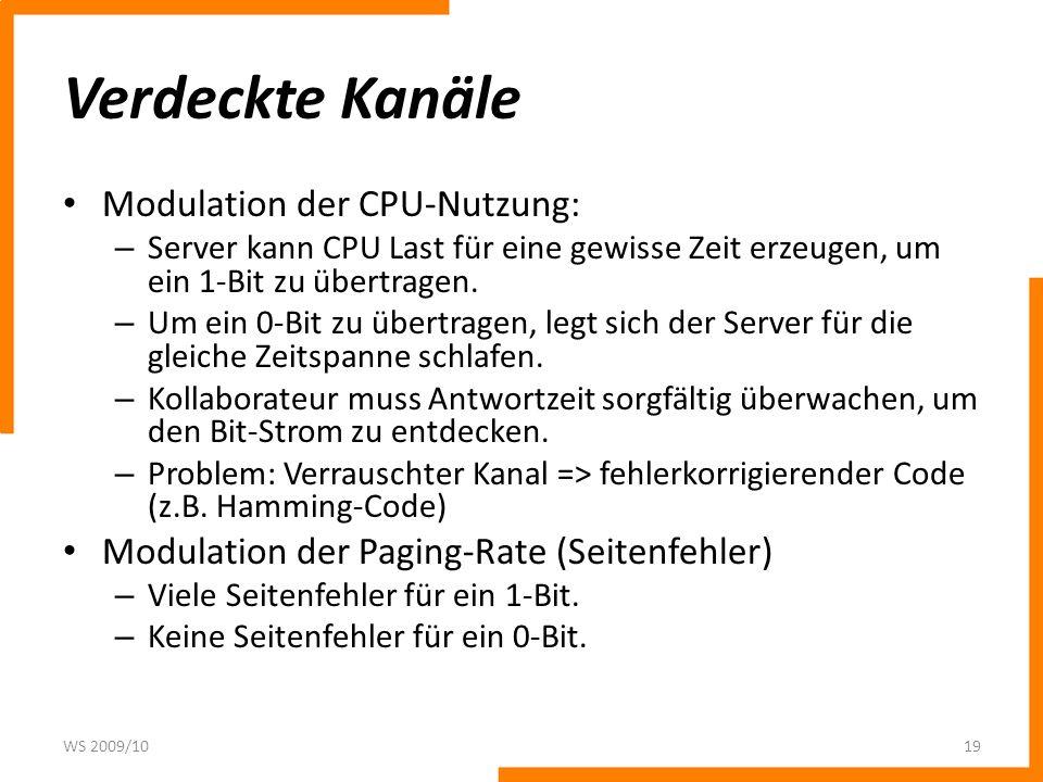 Verdeckte Kanäle Modulation der CPU-Nutzung: