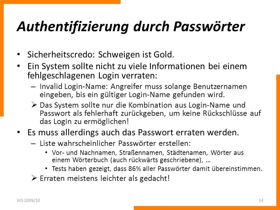 Authentifizierung durch Passwörter