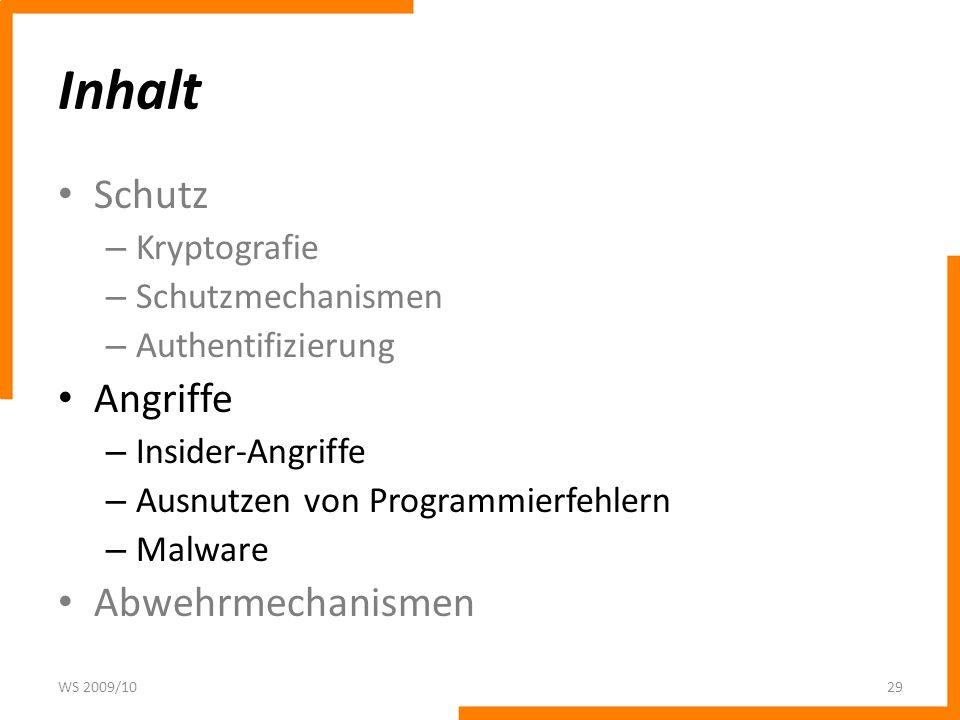 Inhalt Schutz Angriffe Abwehrmechanismen Kryptografie
