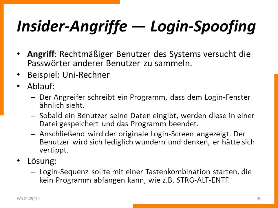 Insider-Angriffe — Login-Spoofing