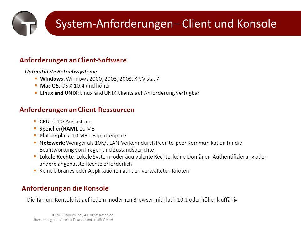 System-Anforderungen– Client und Konsole