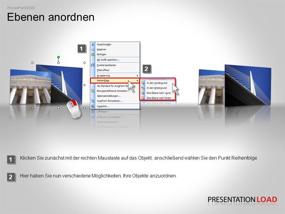 PowerPoint 2003 Ebenen anordnen. 1. 2. 1.