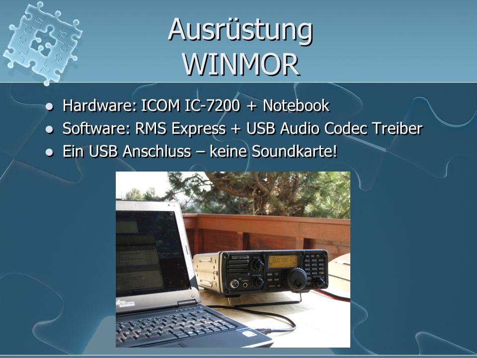 Ausrüstung WINMOR Hardware: ICOM IC-7200 + Notebook