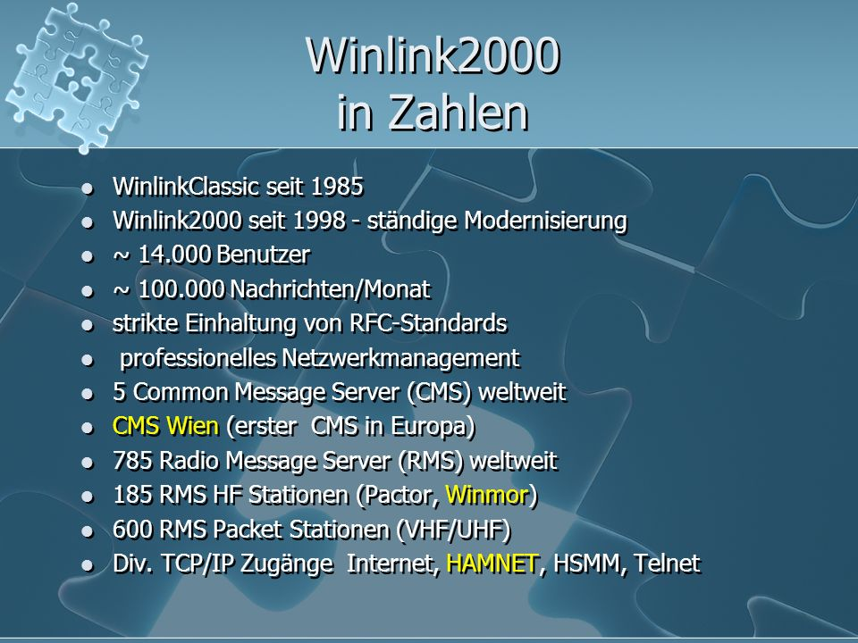 Winlink2000 in Zahlen WinlinkClassic seit 1985