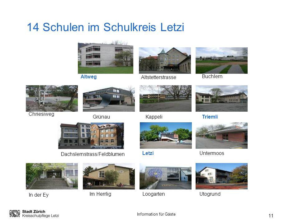 14 Schulen im Schulkreis Letzi