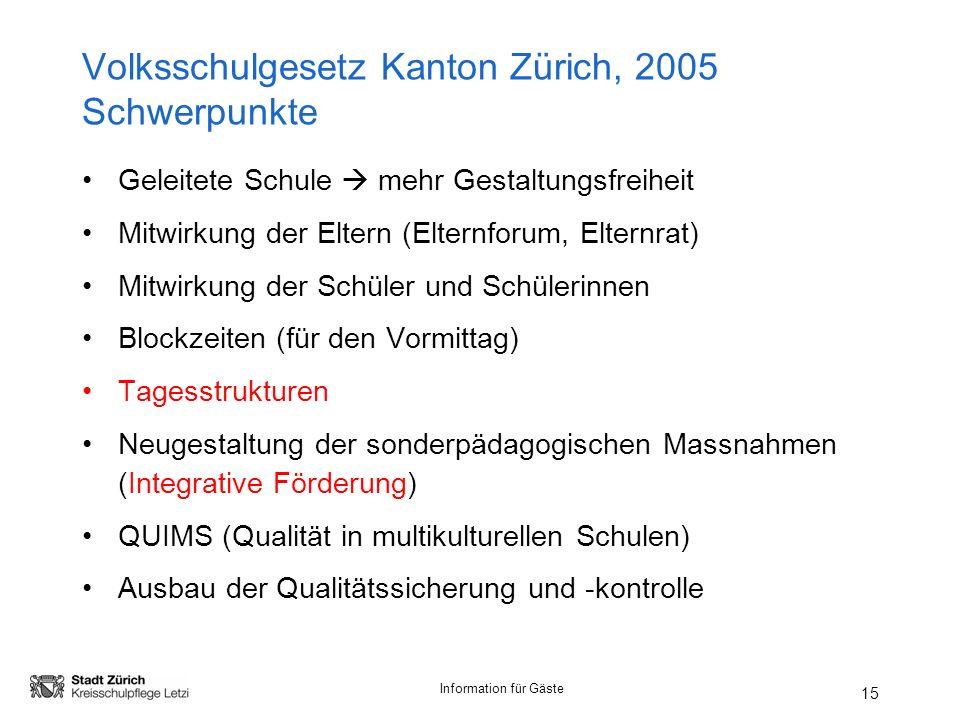 Volksschulgesetz Kanton Zürich, 2005 Schwerpunkte