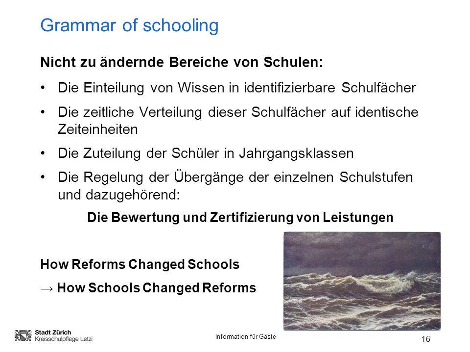 Grammar of schooling Nicht zu ändernde Bereiche von Schulen: