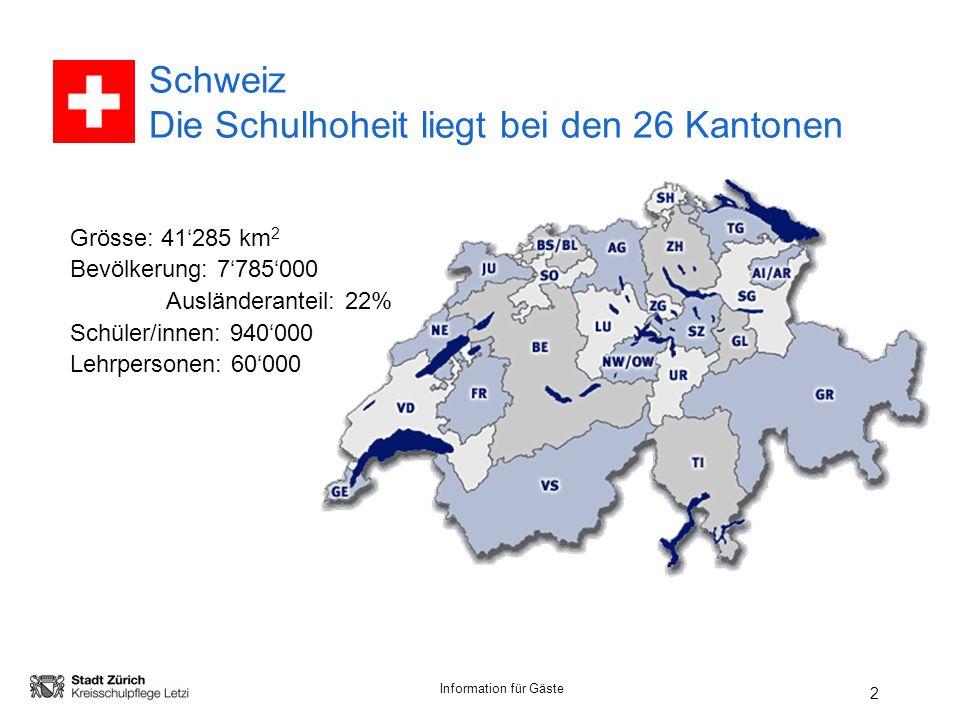 Schweiz Die Schulhoheit liegt bei den 26 Kantonen