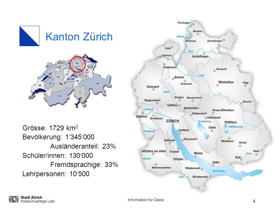 Kanton Zürich Grösse: 1729 km2 Bevölkerung: 1'345'000