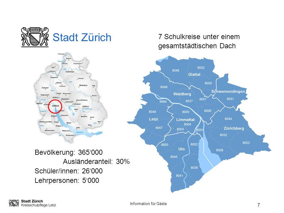 Stadt Zürich 7 Schulkreise unter einem gesamtstädtischen Dach