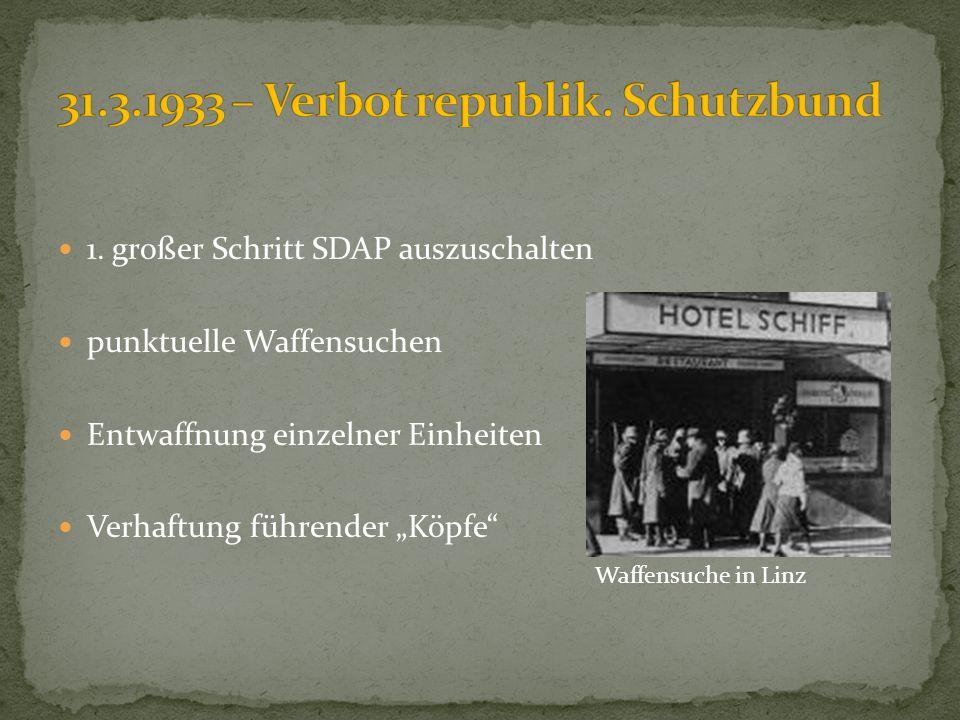 31.3.1933 – Verbot republik. Schutzbund