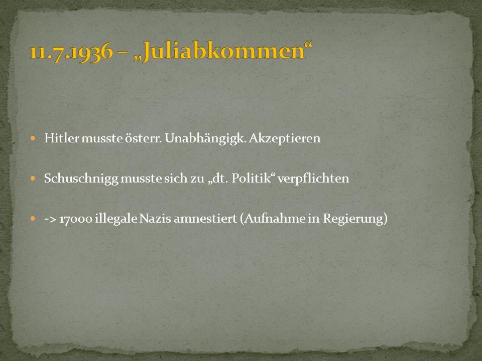 """11.7.1936 – """"Juliabkommen Hitler musste österr. Unabhängigk. Akzeptieren. Schuschnigg musste sich zu """"dt. Politik verpflichten."""