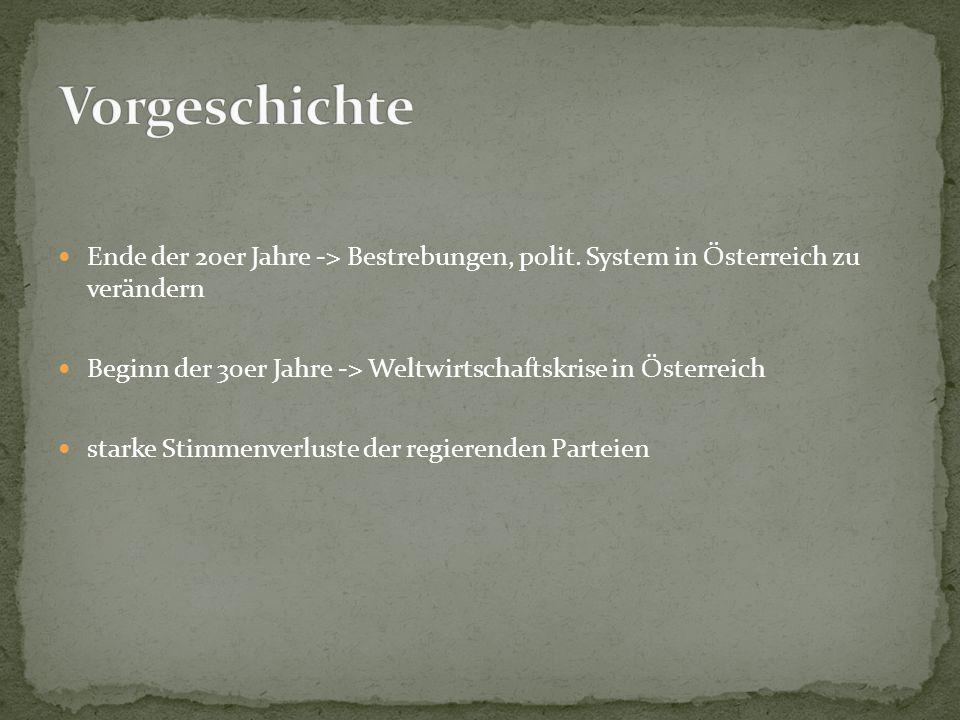 Vorgeschichte Ende der 20er Jahre -> Bestrebungen, polit. System in Österreich zu verändern.